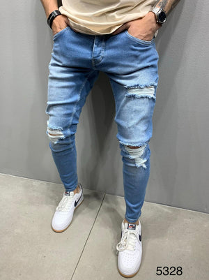 Sneakerjeans Blue Skinny Ripped Jeans AY929