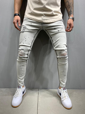 Sneakerjeans Light Gray Washed Skinny Ripped Jeans AY939