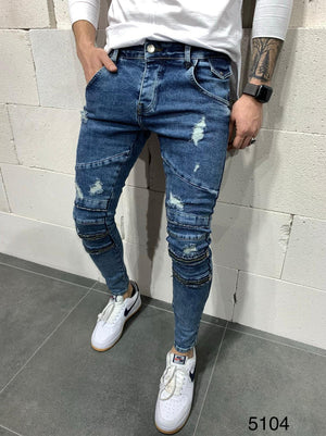 Sneakerjeans Zippered Blue Skinny Ripped Jeans AY963