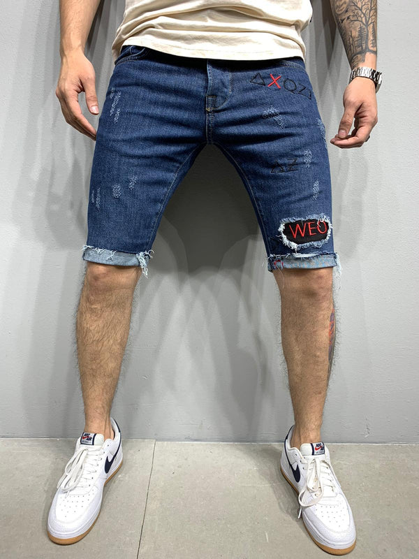 Sneakerjeans Patched Blue Ripped Jeans Short AY974