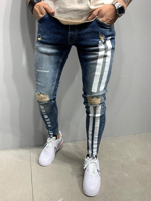 Sneakerjeans Blue White Striped Ripped Skinny Jeans AY976