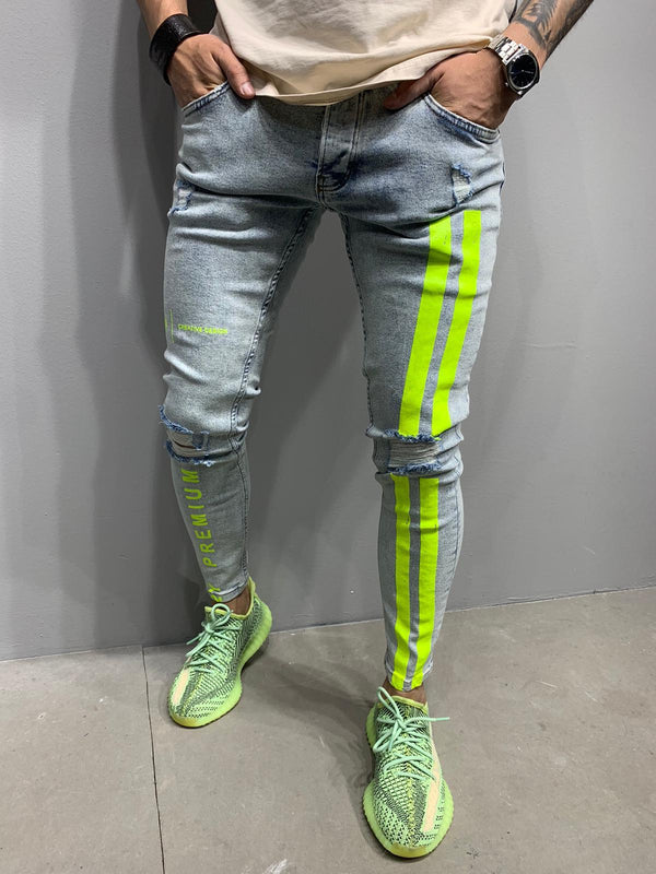 Sneakerjeans Blue Neon Striped Ripped Skinny Jeans AY977