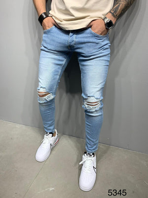 Sneakerjeans Blue Skinny Ripped Jeans AY981