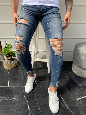 Sneakerjeans Blue Colour Drops Skinny Ripped Jeans DP01