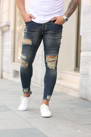 Sneakerjeans Navy Skinny Ripped Jeans DP14
