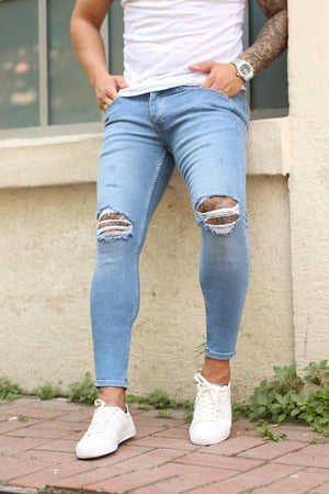 Sneakerjeans Blue Skinny Ripped Jeans DP17
