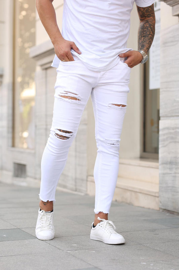 Sneakerjeans White Skinny Ripped Jeans DP16