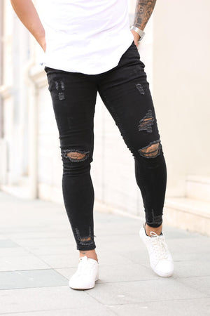 Sneakerjeans Black Skinny Ripped Jeans DP19