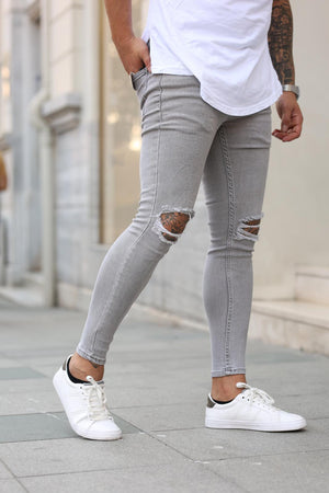 Sneakerjeans Gray Skinny Ripped Jeans DP18