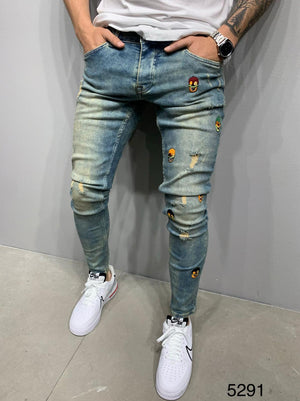 Sneakerjeans Blue Patched Skinny Ripped Jeans AY982