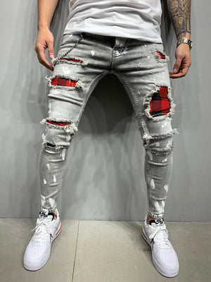 Sneakerjeans Gray Patched Skinny Ripped Jeans AY985