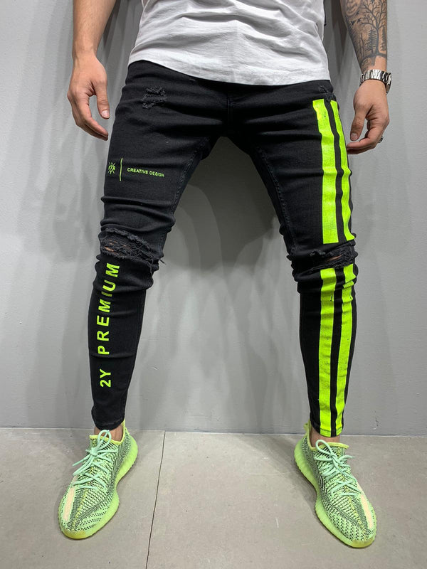 Sneakerjeans Black Neon Striped Skinny Ripped Jeans AY986