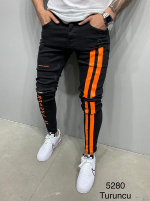 Sneakerjeans Black Orange Striped Skinny Ripped Jeans AY987
