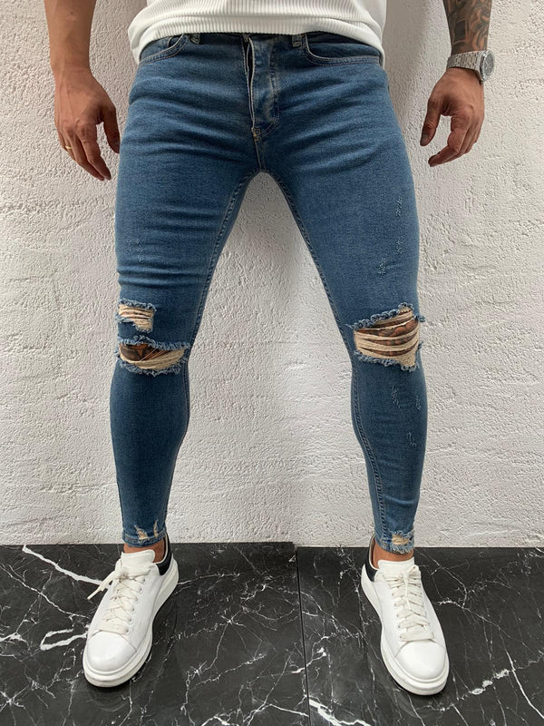 Sneakerjeans Blue Ripped Skinny Jeans DP10