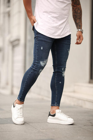 Sneakerjeans Navy Skinny Ripped Jeans DP22