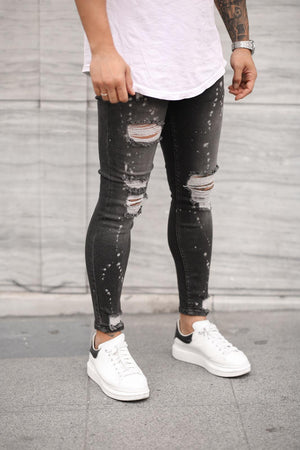 Sneakerjeans Gray Skinny Ripped Jeans DP24