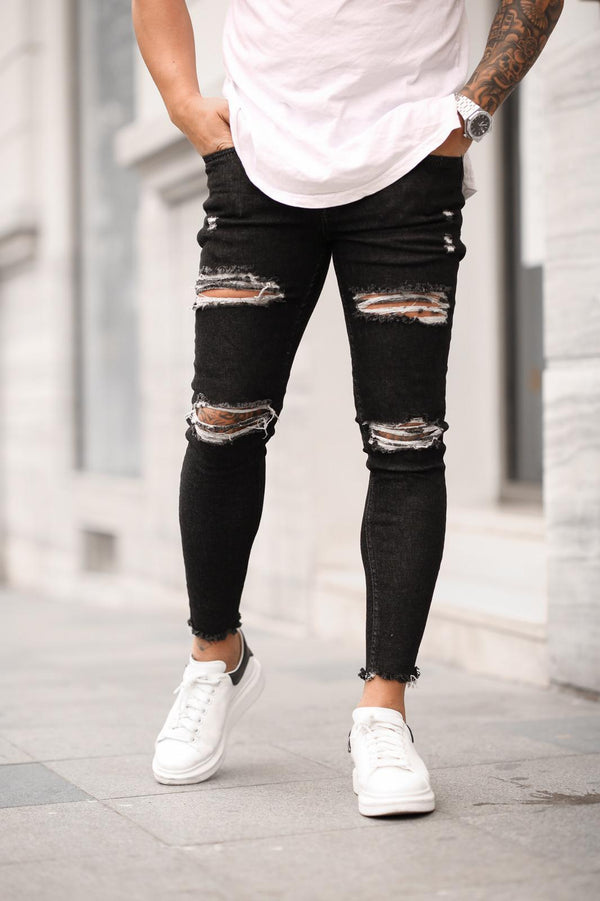 Sneakerjeans Black Skinny Ripped Jeans DP23