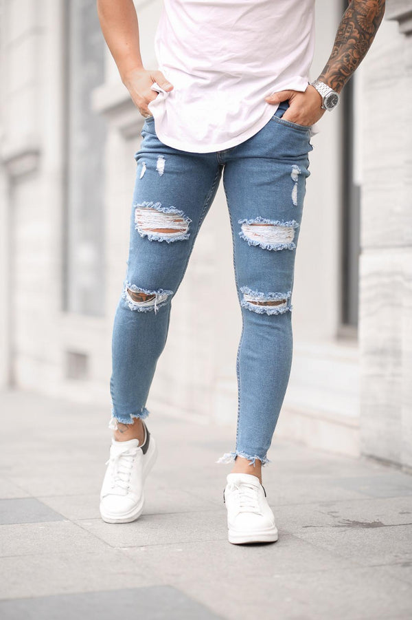 Sneakerjeans Blue Skinny Ripped Jeans DP25