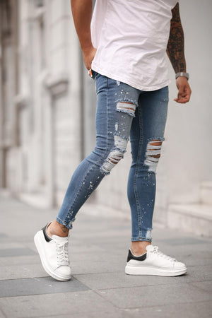 Sneakerjeans Blue Skinny Ripped Jeans DP27
