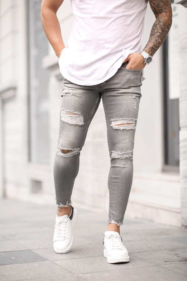 Sneakerjeans Light Gray Skinny Ripped Jeans DP26
