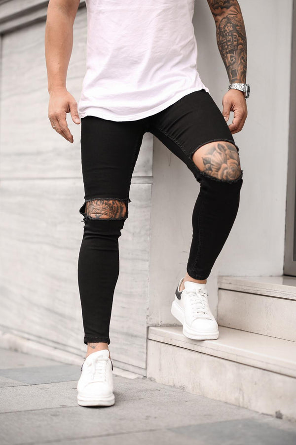 Sneakerjeans Black Skinny Ripped Jeans DP15