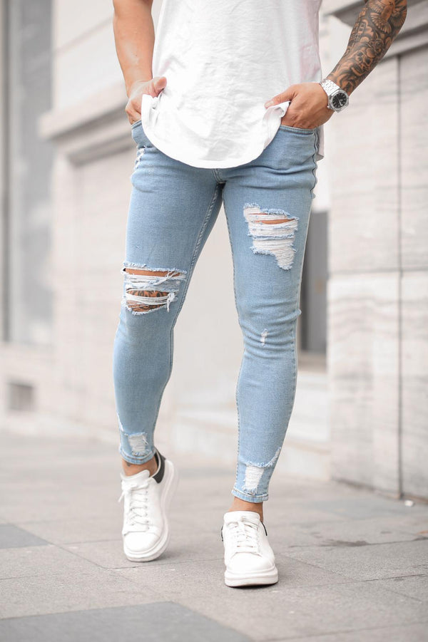 Sneakerjeans Light Blue Skinny Ripped Jeans DP30
