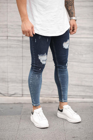 Sneakerjeans Washed Blue Skinny Ripped Jeans DP31