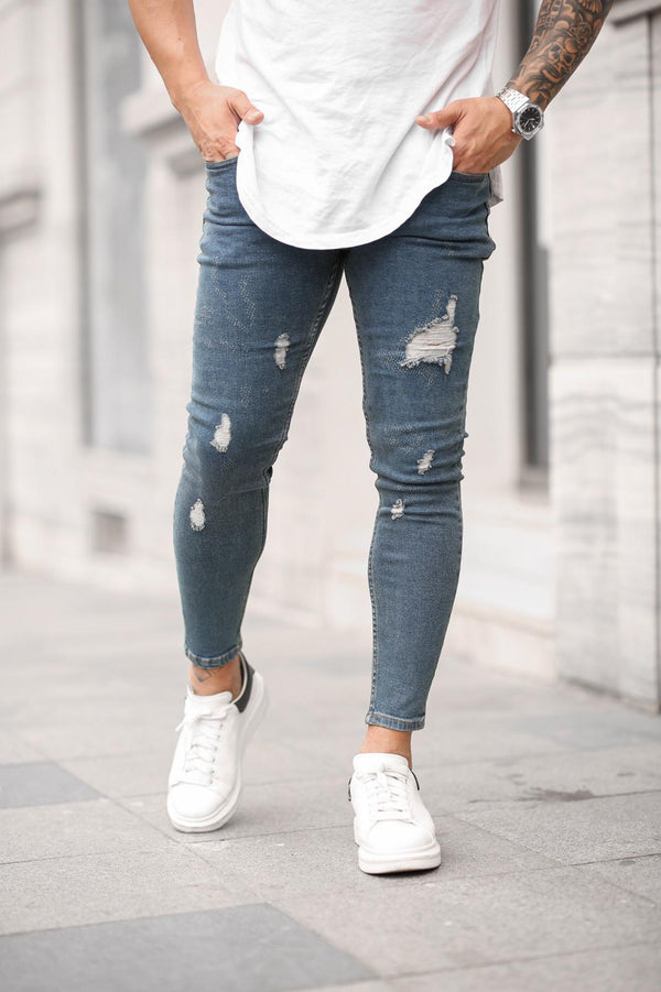 Sneakerjeans Blue Skinny Ripped Jeans DP44