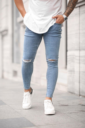 Sneakerjeans Blue Skinny Ripped Jeans DP42