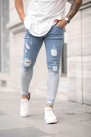 Sneakerjeans Washed Blue Skinny Jeans DP40