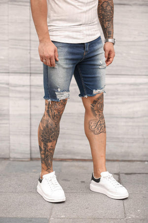 Sneakerjeans Blue Ripped Jeans Short DP37