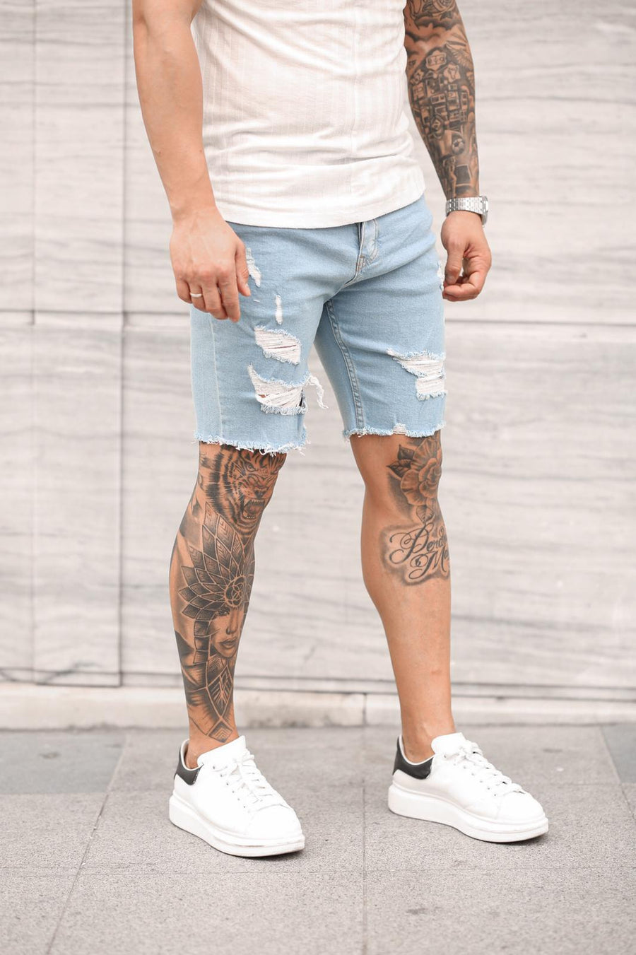 Sneakerjeans Light Blue Ripped Jeans Short DP35