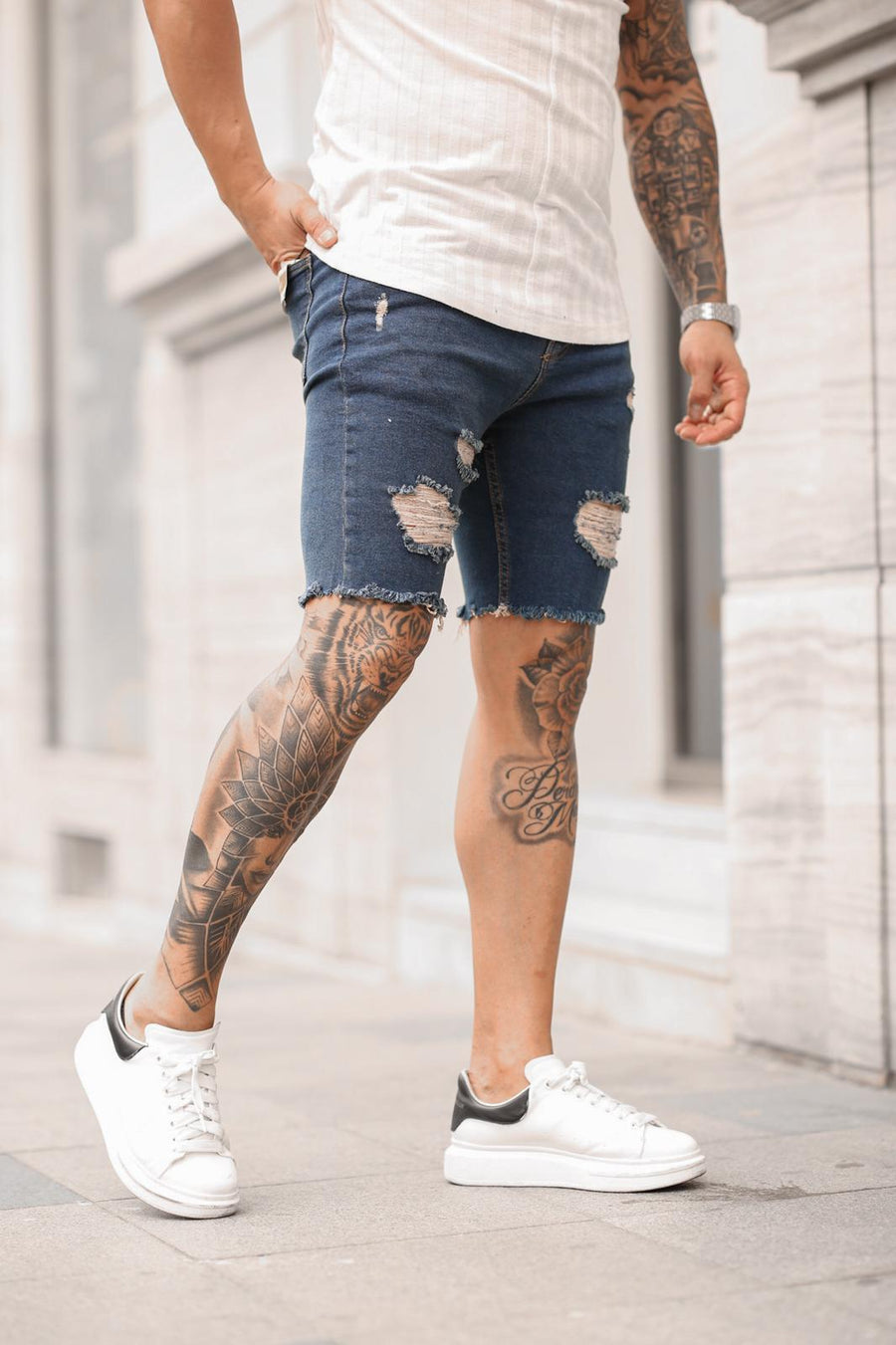 Sneakerjeans Navy Ripped Jeans Short DP34