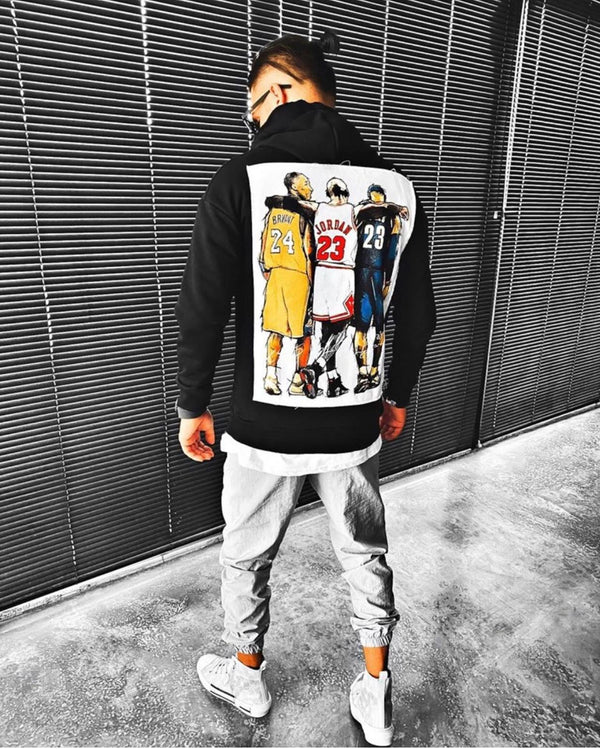 Sneakerjeans Black Basketball Legends Printed Hoodie ES06