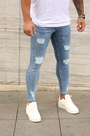 Sneakerjeans Blue Ripped Skinny Jeans DP81