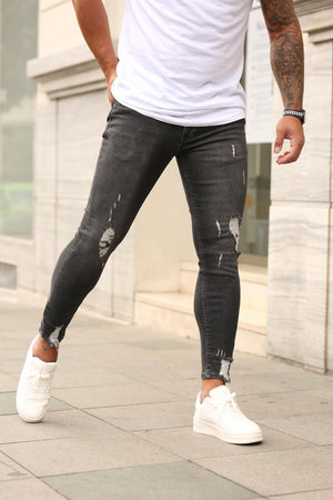 Sneakerjeans Black Ripped Skinny Jeans DP85