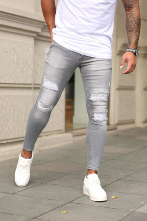 Sneakerjeans Gray Ripped Skinny Jeans DP86