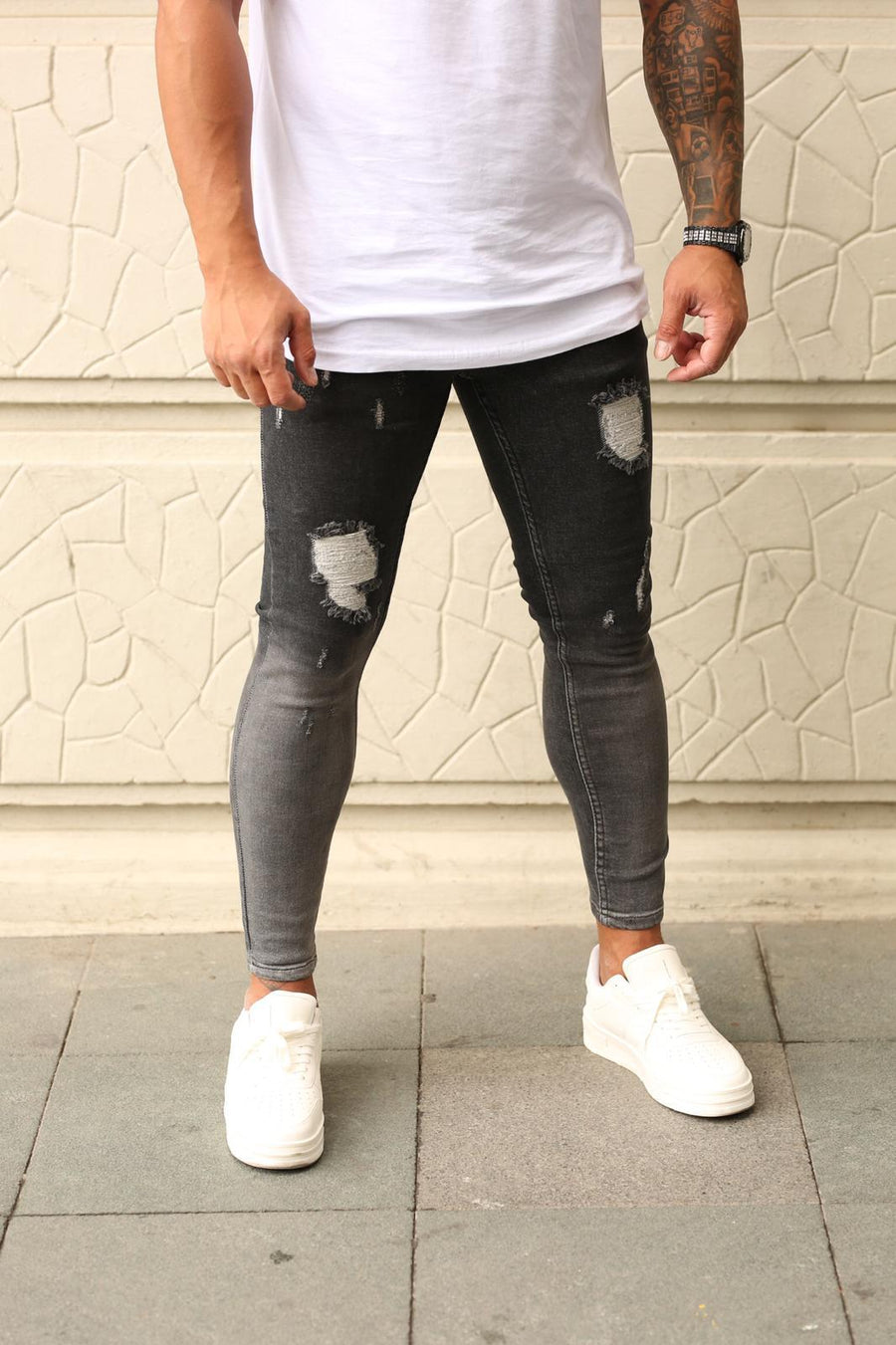 Sneakerjeans Black Ripped Skinny Jeans DP87