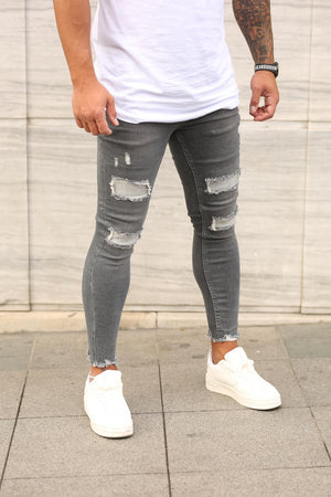 Sneakerjeans Black Ripped Skinny Jeans DP88