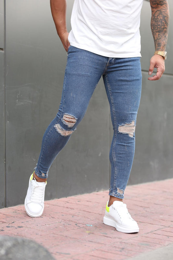 Sneakerjeans Blue Skinny Ripped Jeans DP101
