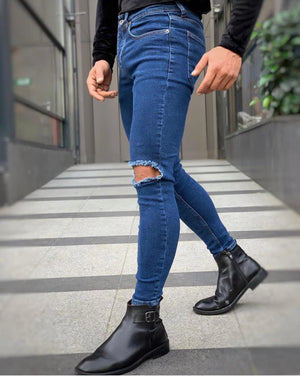 Sneakerjeans Blue Ripped Jeans DP111