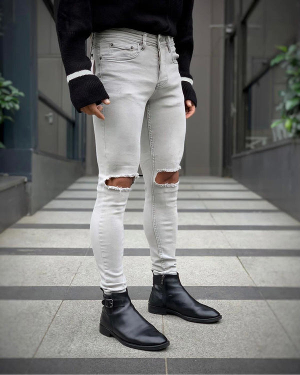 Sneakerjeans Gray Ripped Jeans DP112