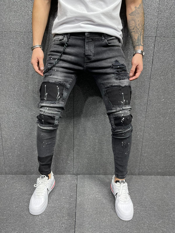 Sneakerjeans Black Patched Jeans AY187