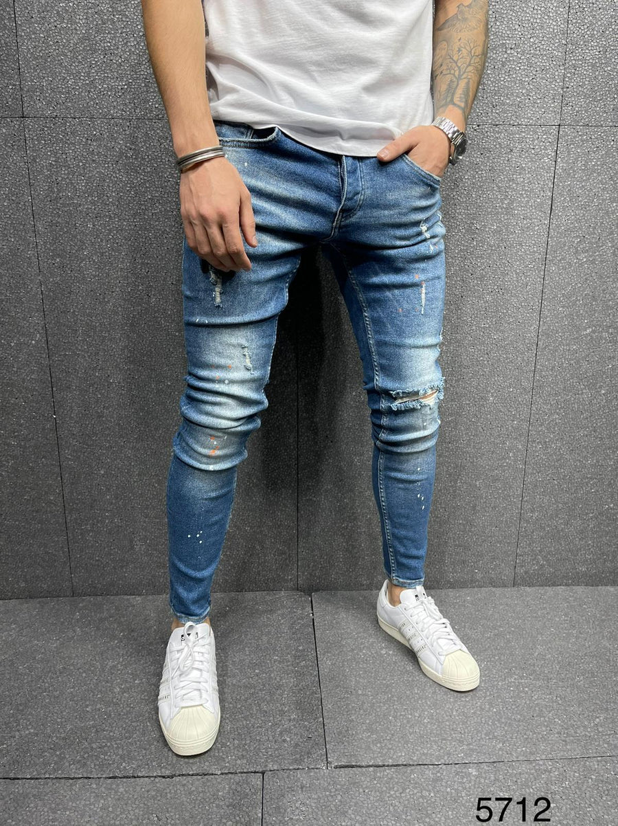 Sneakerjeans Blue Ripped Jeans AY189