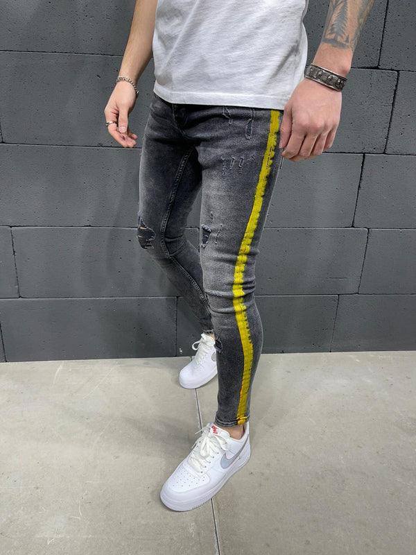 Sneakerjeans Striped Ripped Jeans AY248