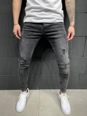 Sneakerjeans Striped Ripped Jeans AY247