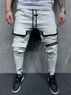 Sneakerjeans White Cargo Jogger Pant AD082