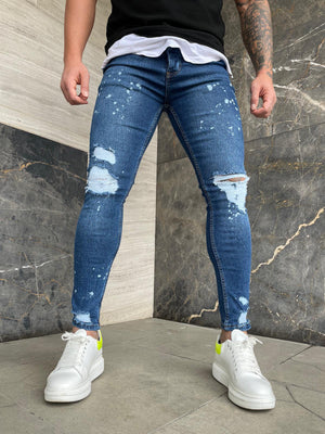 Sneakerjeans Blue Ripped Jeans DP131
