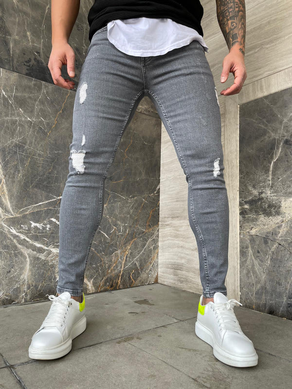 Sneakerjeans Gray Ripped Jeans DP136