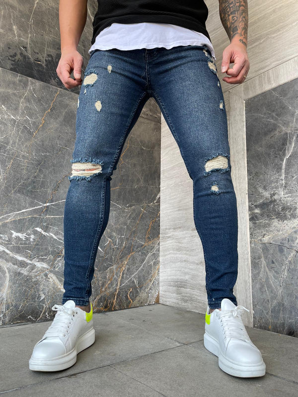 Sneakerjeans Blue Ripped Jeans DP140